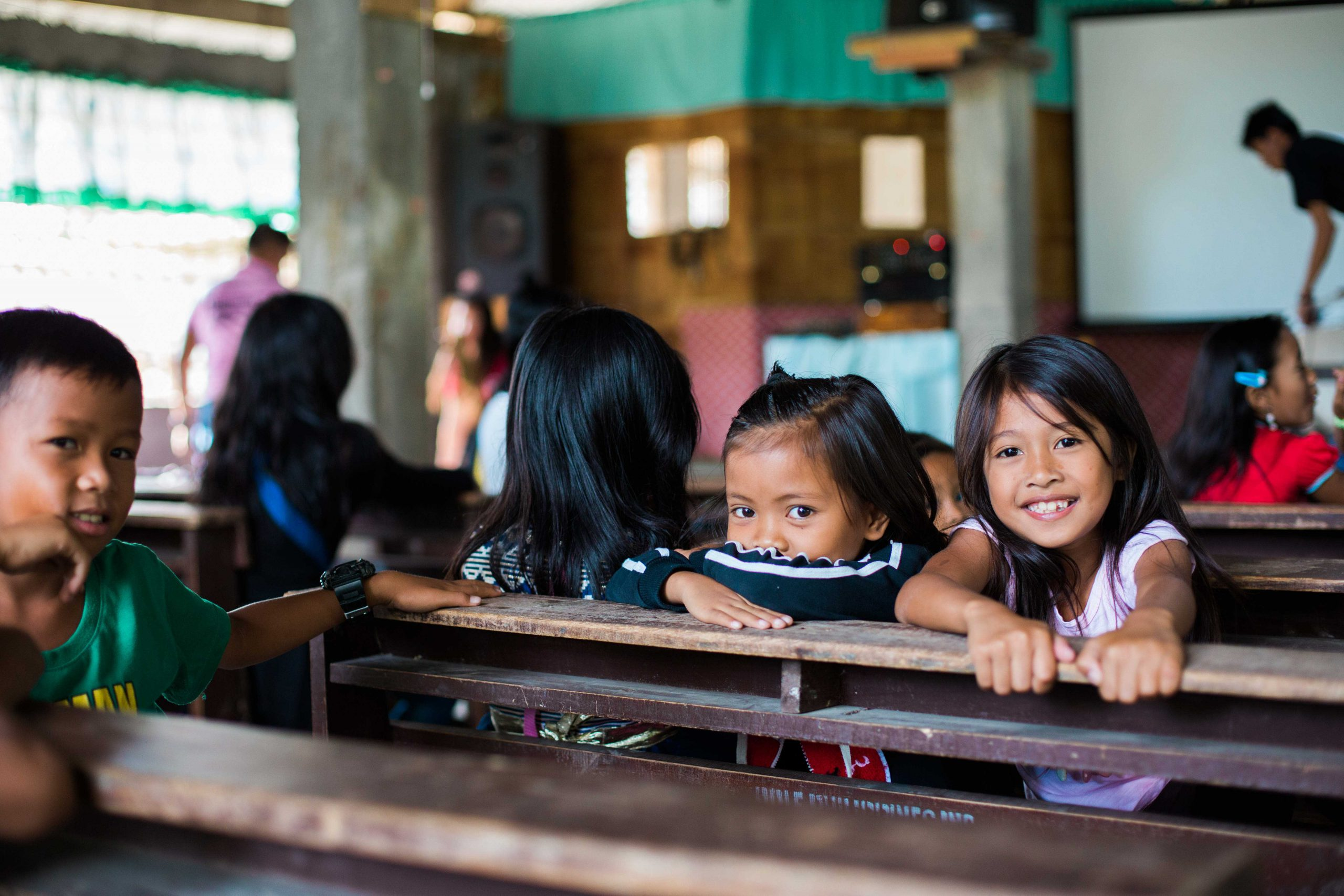Cambodian kids in classroom